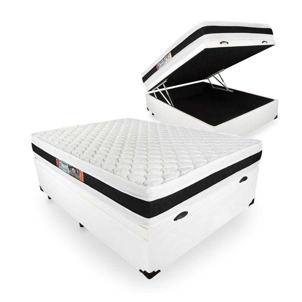 Cama Box Com Baú Viúva + Colchão De Espuma D45 - Castor - Black White Double Face 128cm