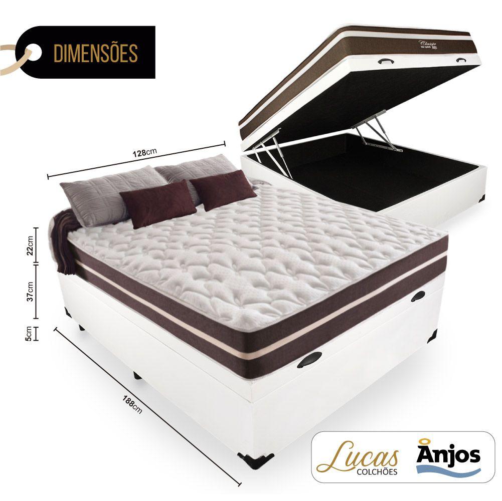 Cama Box Com Baú Viúva  + Colchão De Molas - Anjos - Classic Superlastic 128cm