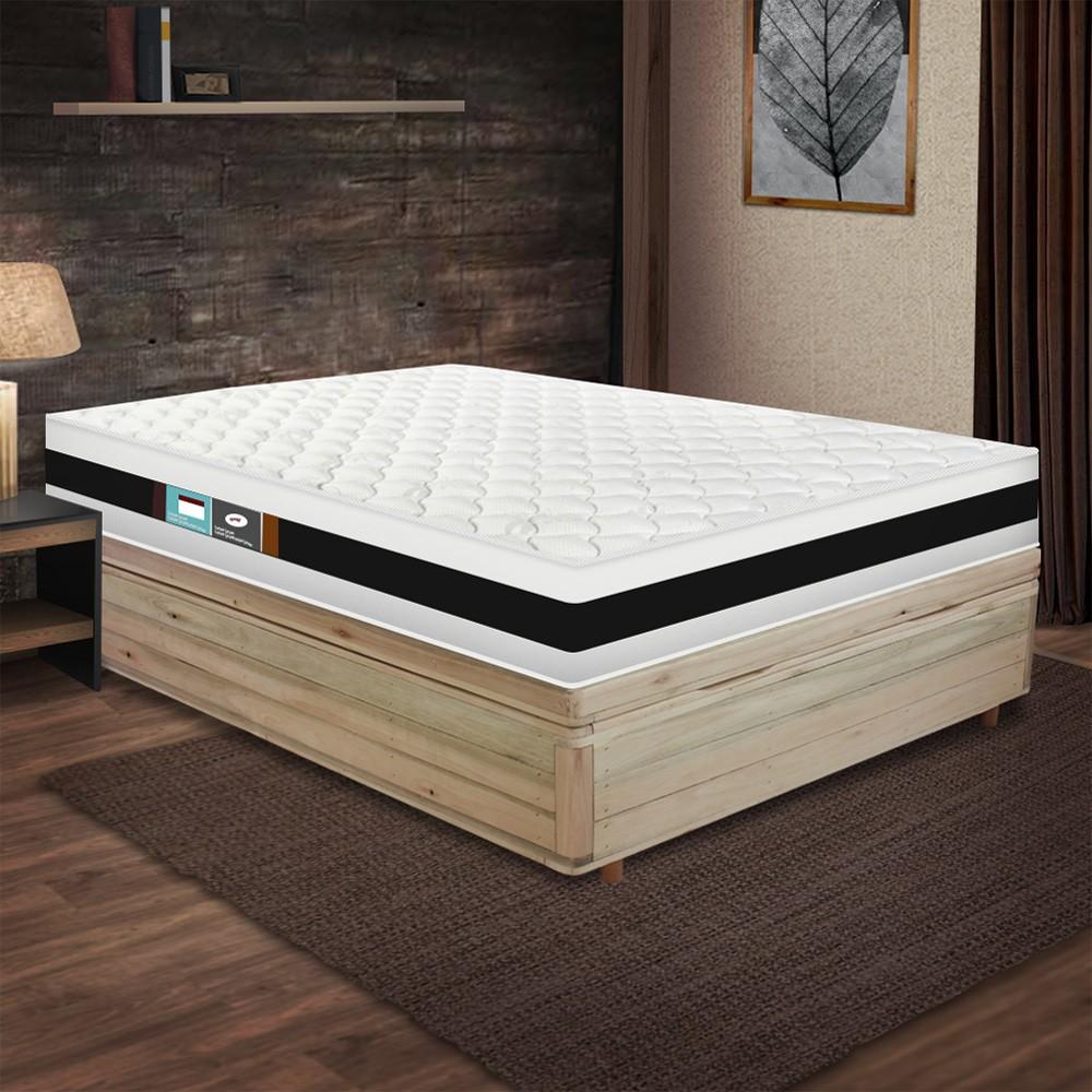 Cama Box com Baú Viúva Rústica + Colchão De Espuma D45 - Castor - Black White Double Face 128x188x69cm
