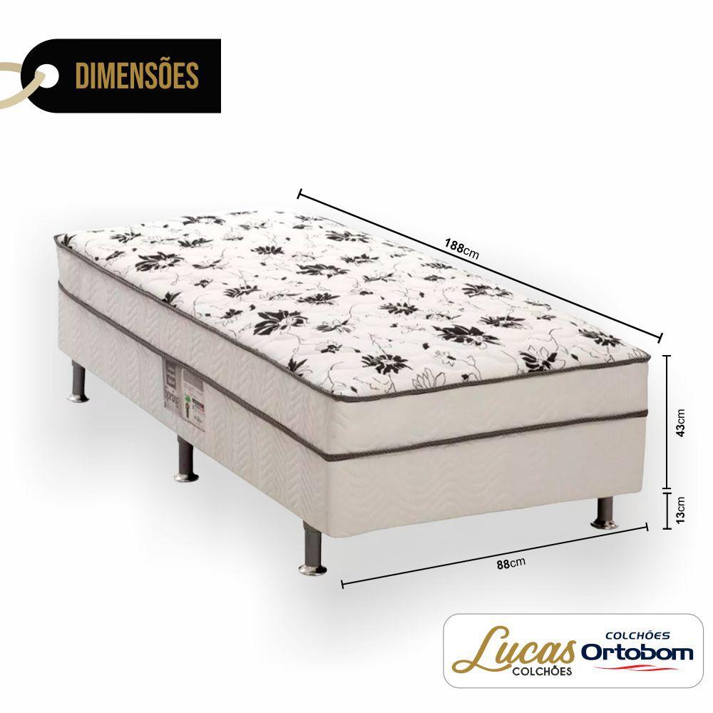 Cama Box com Colchão De Molas Conjugado Solteiro  - Ortobom - Union Spring 88cm