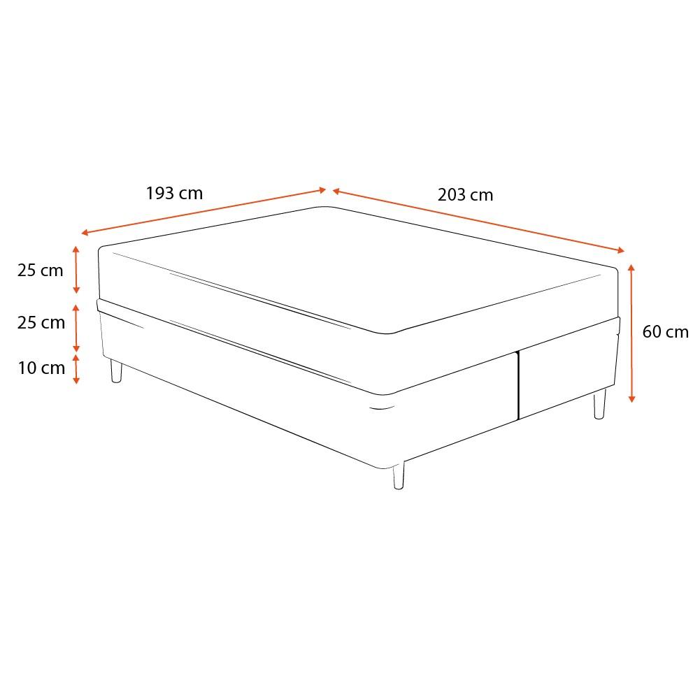 Cama Box King Cinza + Colchão De Molas - Castor - Class Bonnel One Face 193x203x60cm