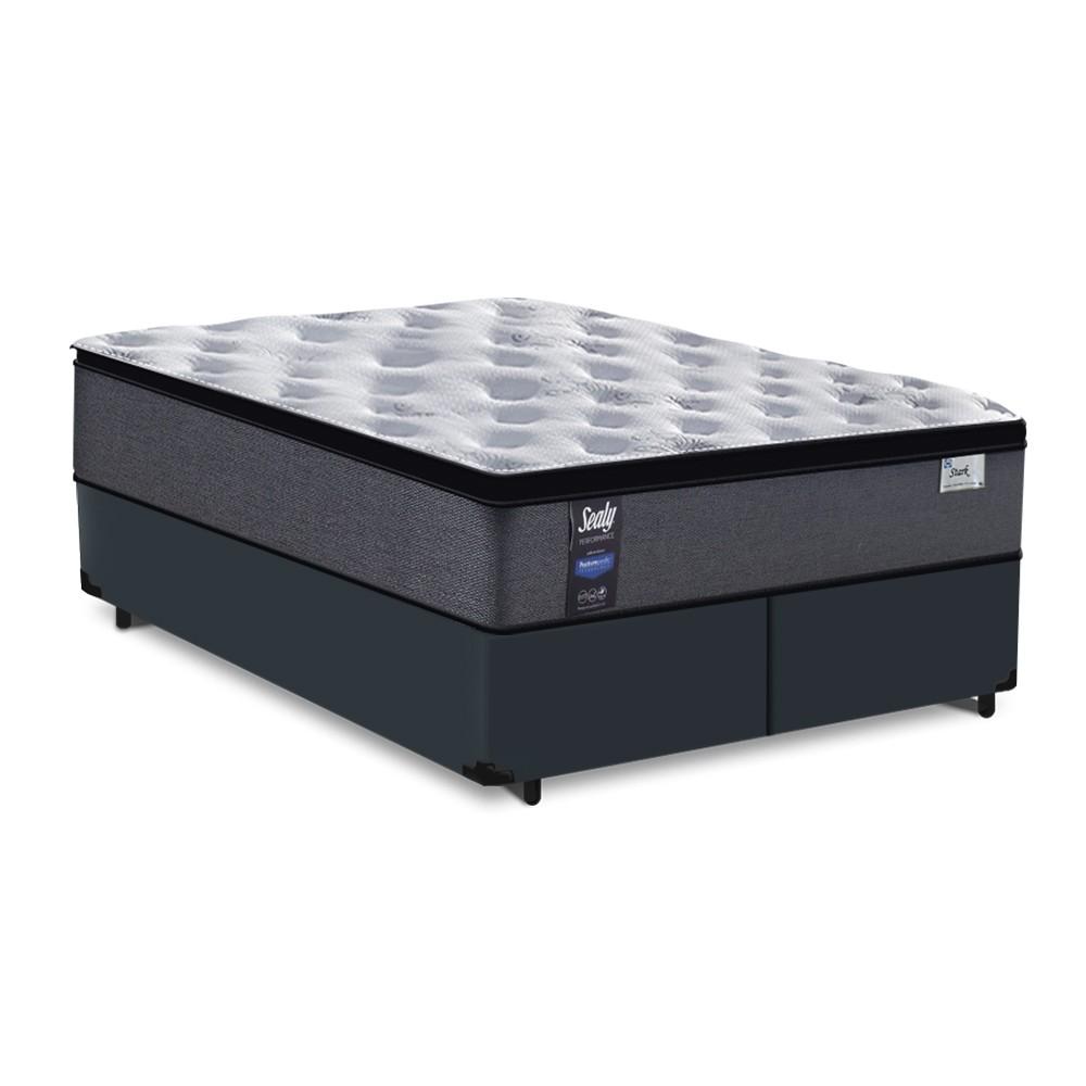 Cama Box King Cinza + Colchão de Molas Ensacadas - Sealy - Starck - 193x203x63cm