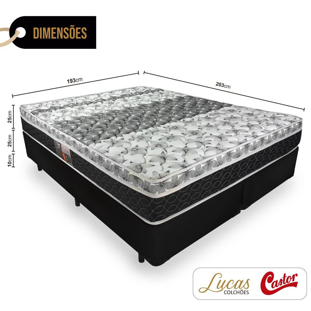 Cama Box King + Colchão De Molas - Castor - Class Bonnel One Face 193cm