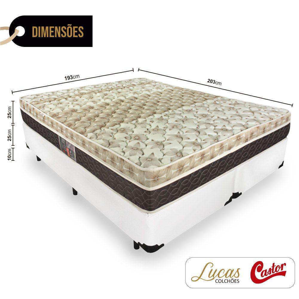 Cama Box King + Colchão De Molas Ensacadas - Castor - Class Pocket Híbrido One Face 193cm