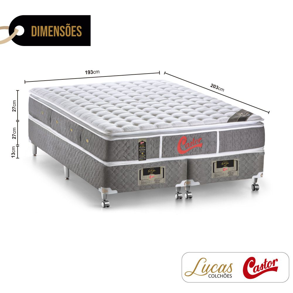 Cama Box King + Colchão De Molas Ensacadas - Castor - Light Stress Oxygen New One Face 193cm