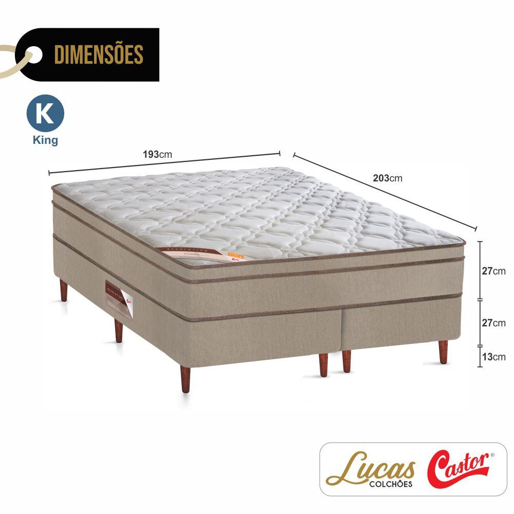 Cama Box King + Colchão De Molas - Castor - Revolution Bonnel 193cm