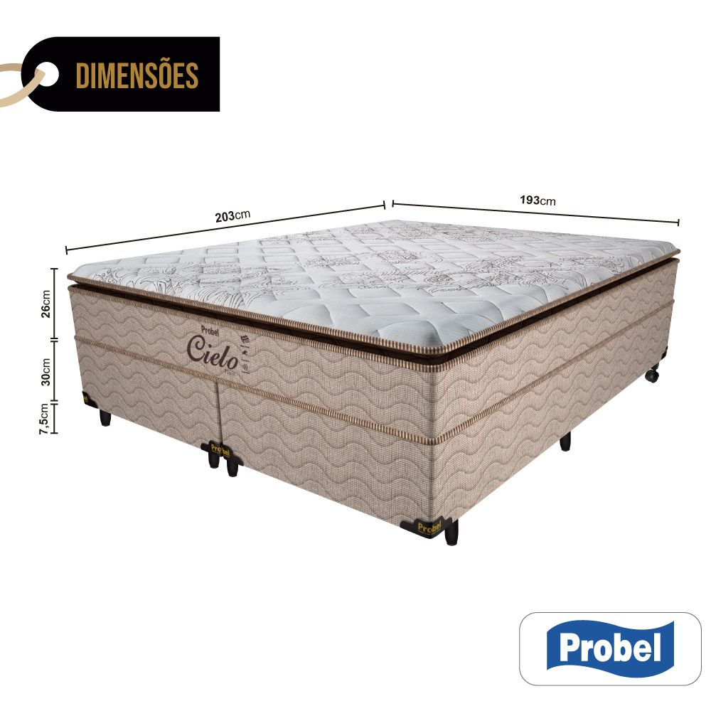 Cama Box King + Colchão de Molas Ensacadas - Probel - Cielo Pillow Super 68x203x193cm