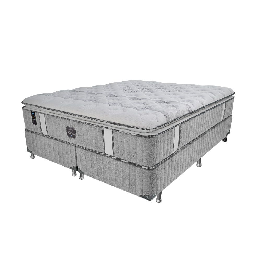Cama Box King + Colchão de Molas Ensacadas - Probel - Sensory Prime Látex Pillow Super 74x203x193cm