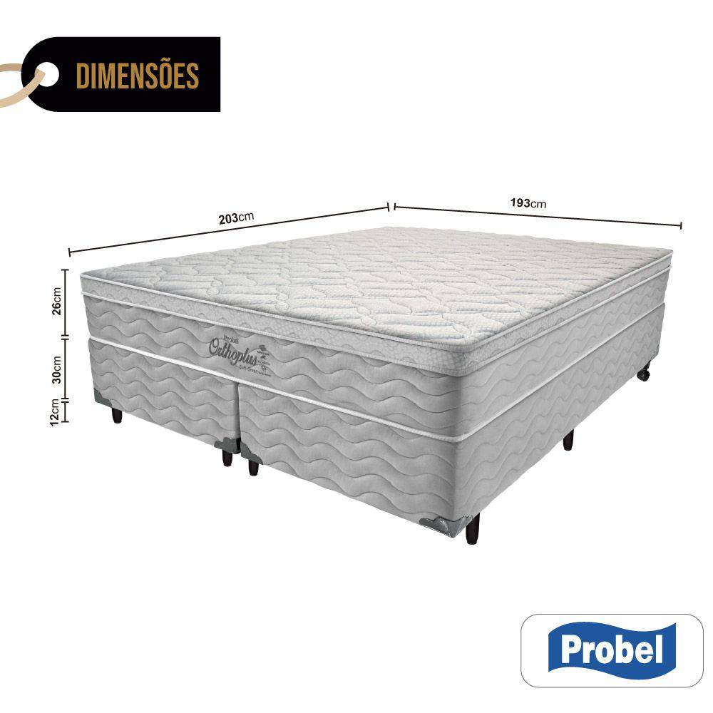 Cama Box King + Colchão de Molas - Probel - Orthoplus Soft Green Pillow Euro 68x203x193cm