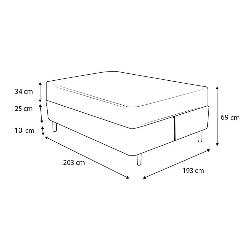 Cama Box King Preta + Colchão de Molas Superlastic - Plumatex - Toulouse - 193x203x69cm