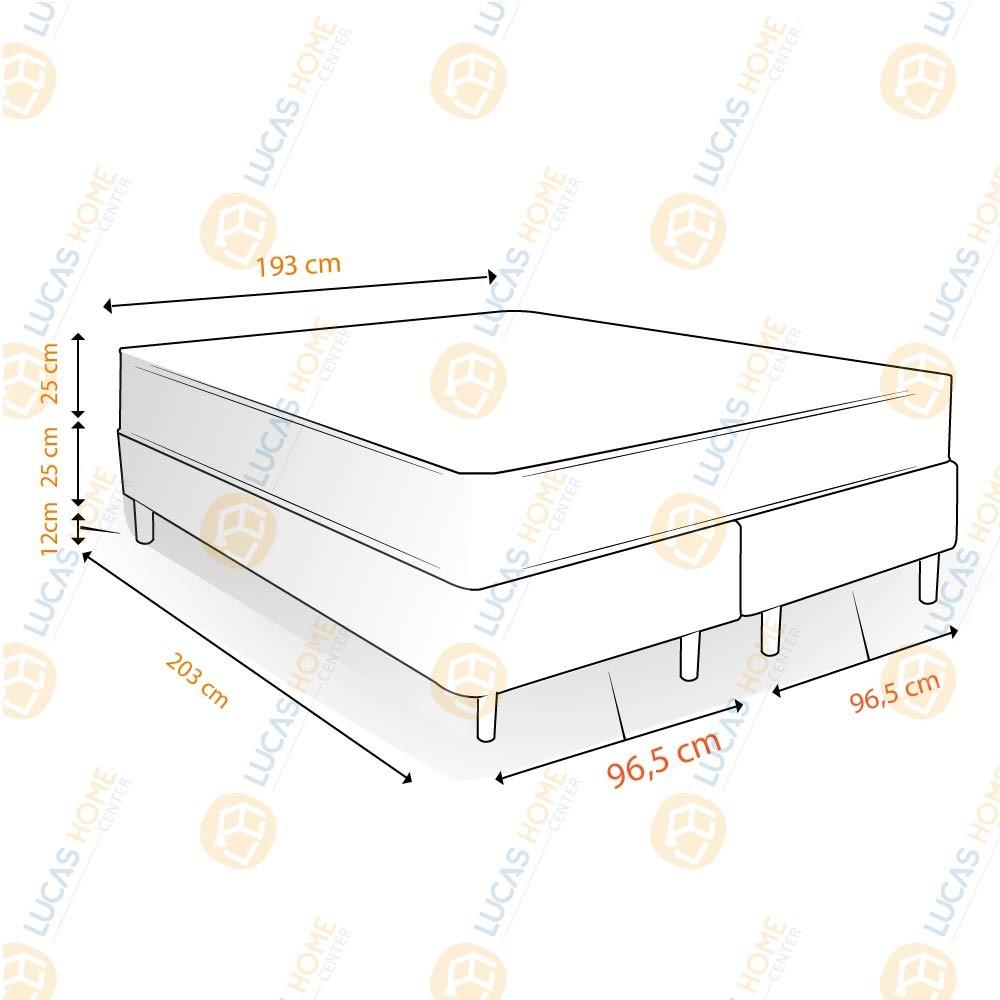 Cama Box King Rústica + Colchão De Molas Ensacadas - Castor - Class Pocket Híbrido One Face 193x203x62cm