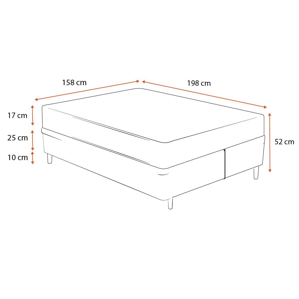 Cama Box Queen Cinza + Colchão De Espuma D33 - Ortobom - Light - 158x198x52cm
