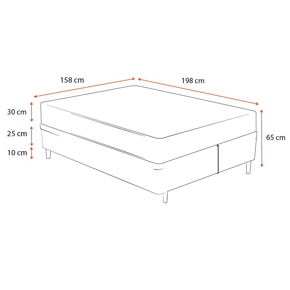 Cama Box Queen Cinza + Colchão de Molas Ensacadas - Comfort Prime - New Aspen - 158x198x65cm