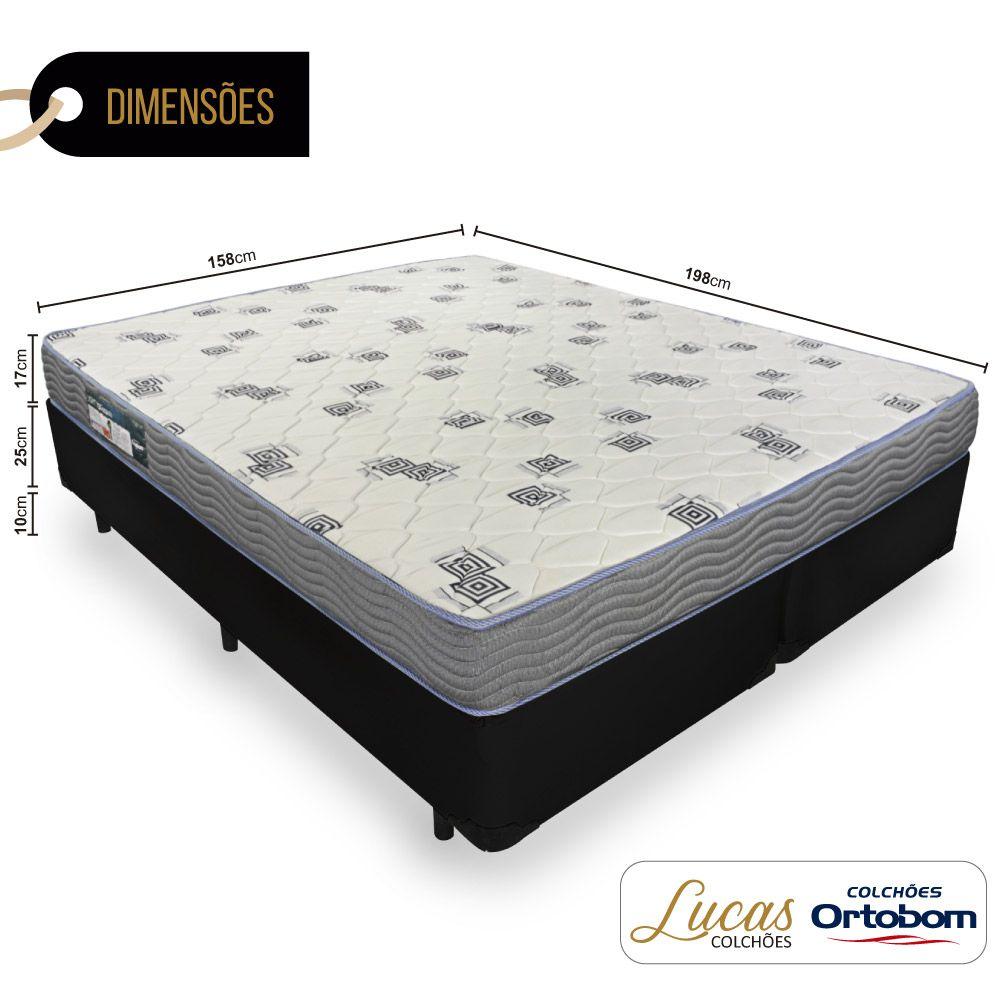 Cama Box Queen + Colchão De Espuma D33 - Ortobom - Light 158cm