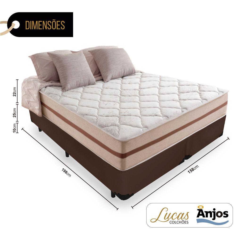 Cama Box Queen + Colchão De Molas Ensacadas - Anjos - Classic 158x198x22cm