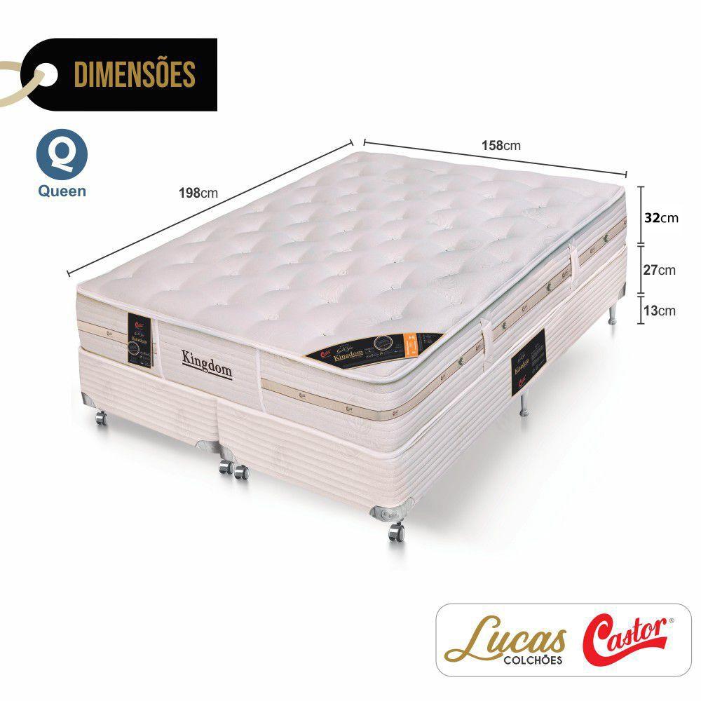Cama Box Queen + Colchão De Molas Ensacadas - Castor - Montblanc Kingdom 158cm