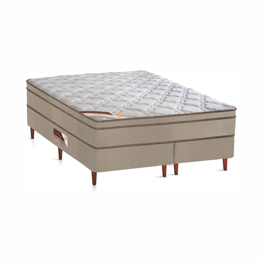 Cama Box Queen + Colchão De Molas - Castor - Revolution Bonnel 158cm