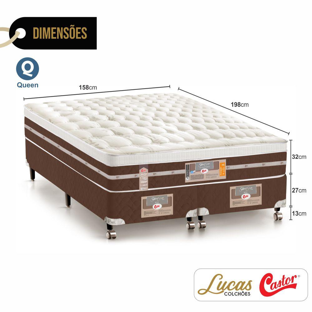Cama Box Queen + Colchão De Molas Ensacadas - Castor - Silver Star Air Híbrido 158cm