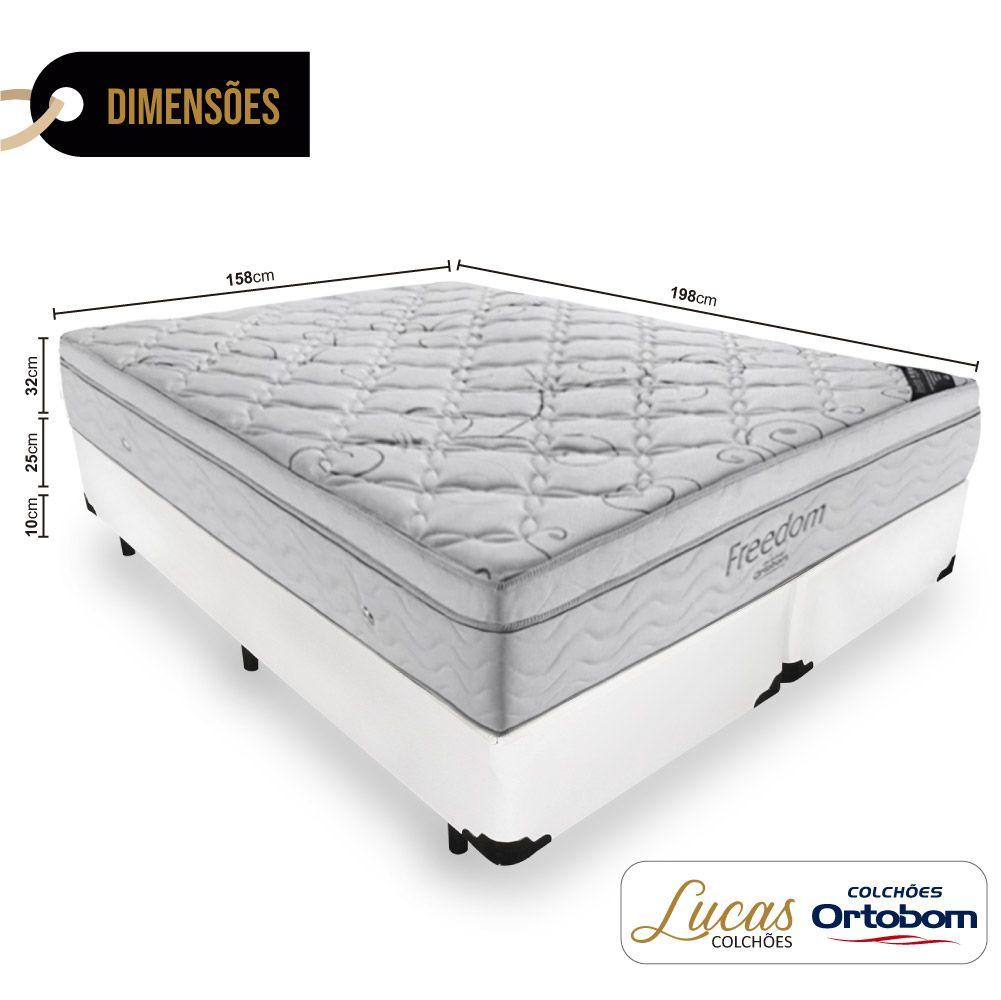 Cama Box Queen + Colchão De Molas Ensacadas - Ortobom - Freedom 158cm
