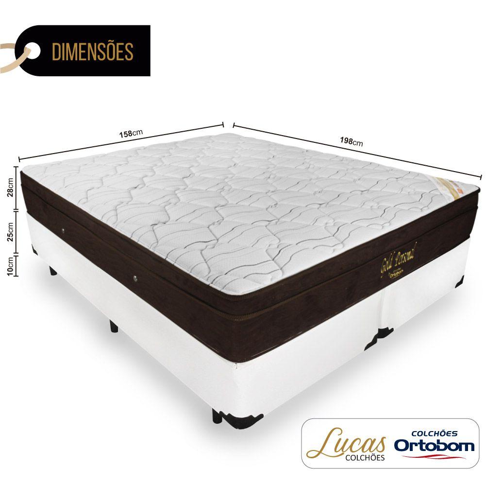 Cama Box Queen + Colchão De Molas Ensacadas - Ortobom - Gold Personal 158cm
