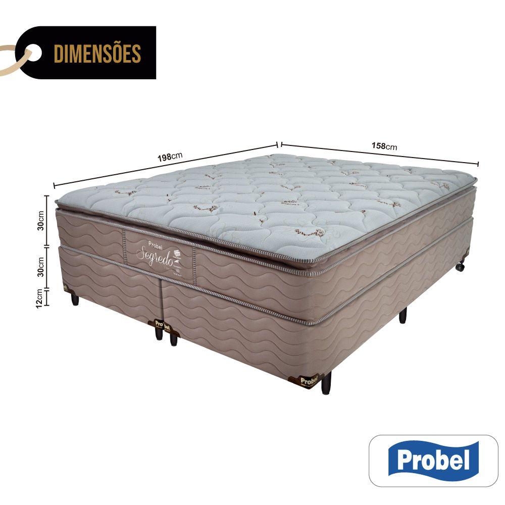 Cama Box Queen + Colchão de Molas Ensacadas - Probel - Segredo Pillow Super 72x198x158cm
