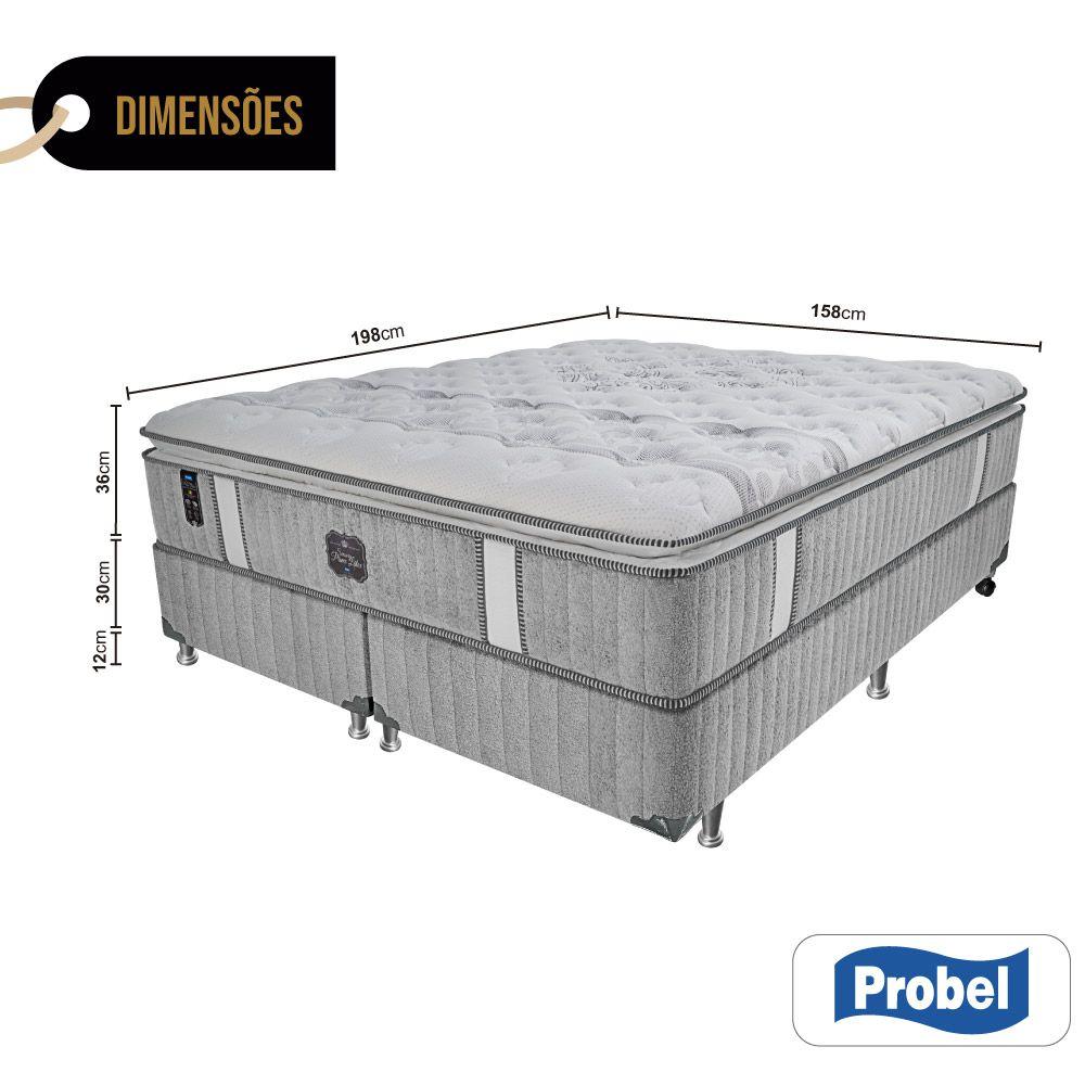 Cama Box Queen + Colchão de Molas Ensacadas - Probel - Sensory Prime Látex Pillow Super 74x198x158cm