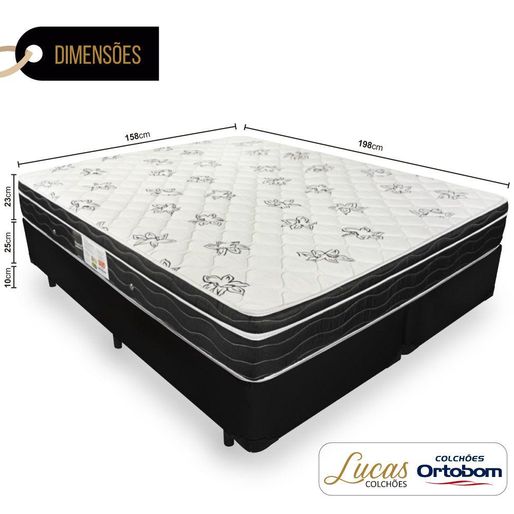 Cama Box Queen + Colchão De Molas - Ortobom - Physical Nanolastic 158cm
