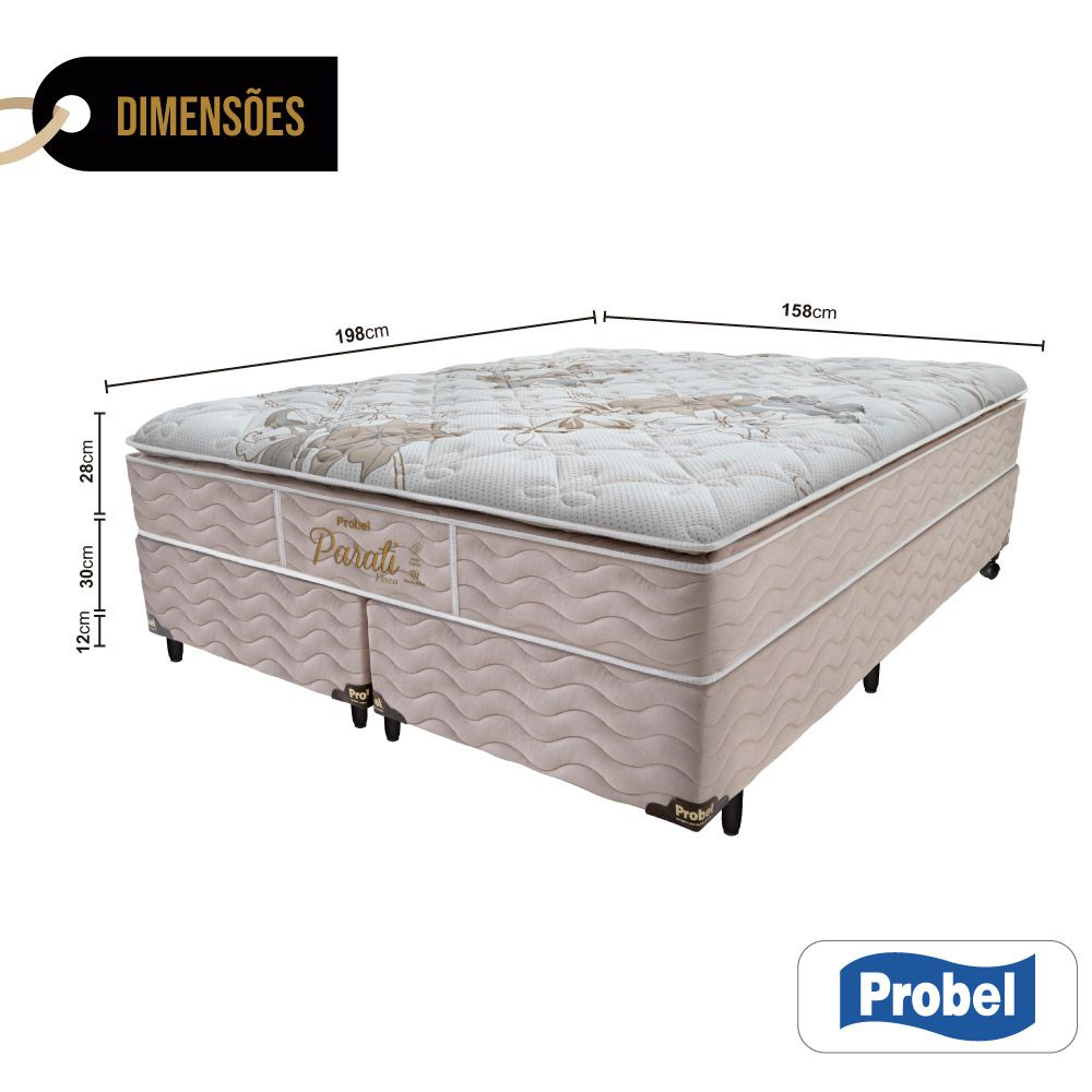 Cama Box Queen + Colchão de Molas - Probel - Parati Pillow Super 70x198x158cm