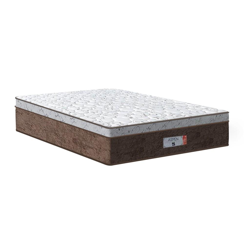 Cama Box Queen Marrom + Colchão de Molas Ensacadas - Comfort Prime - Aspen - 158x198x65cm