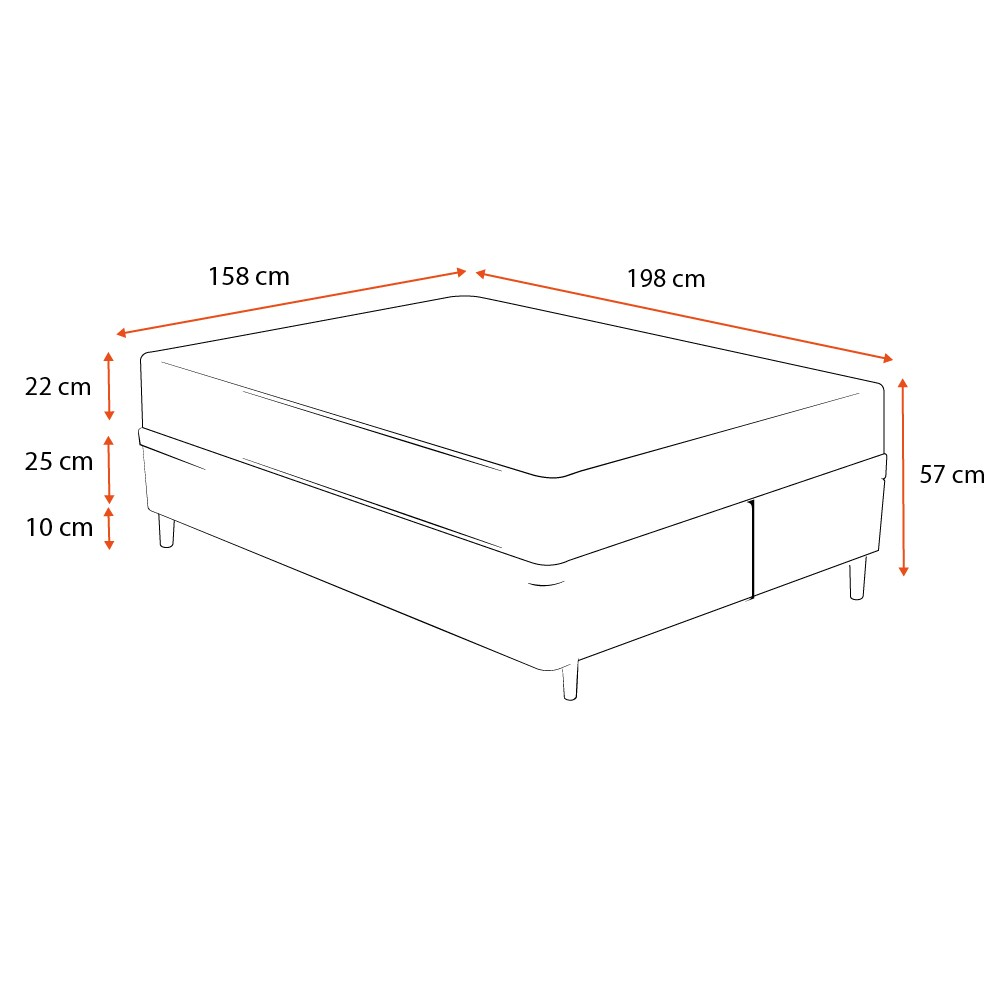 Cama Box Queen Preta + Colchão de Molas Ensacadas - Comfort Prime - Prime Dreams Classic - 158x198x57cm
