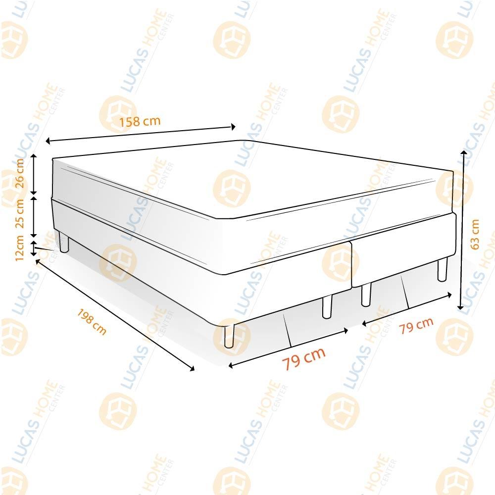 Cama Box Queen Rústica + Colchão de Molas Ensacadas - Plumatex - Ilhéus - 158x198x63cm