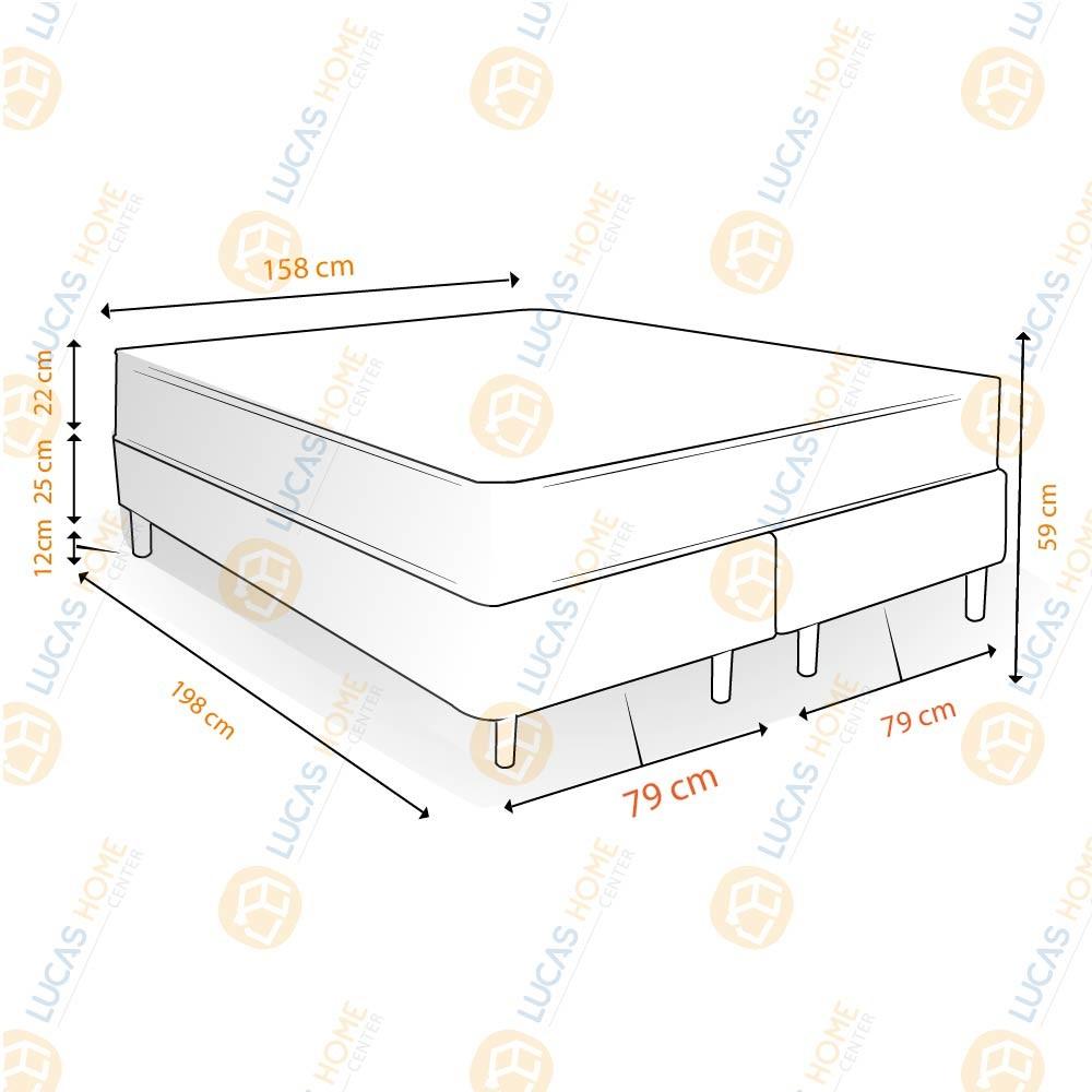 Cama Box Queen Rústica + Colchão de Molas Superlastic - Comfort Prime - Coil Classic - 158x198x59cm