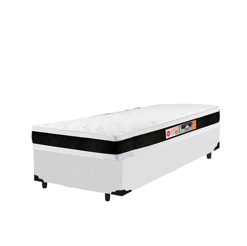 Cama Box Solteiro Branca + Colchão De Espuma D45 - Castor - Black White Double Face - 88x188x62cm