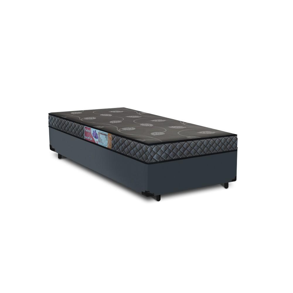 Cama Box Solteiro Cinza + Colchão De Espuma D20 - Prorelax - Violeta 78x188x47cm