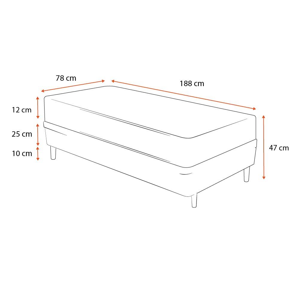 Cama Box Solteiro Cinza + Colchão De Espuma D23 - Ortobom - Light Liso - 78x188x47cm