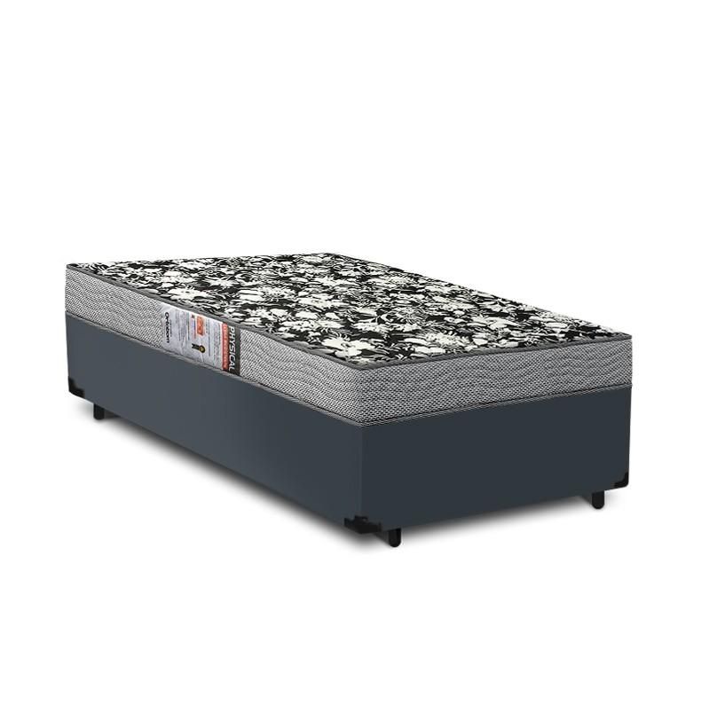 Cama Box Solteiro Cinza + Colchão De Espuma D26 - Ortobom - Physical Ultra Resistente - 88x188x52cm