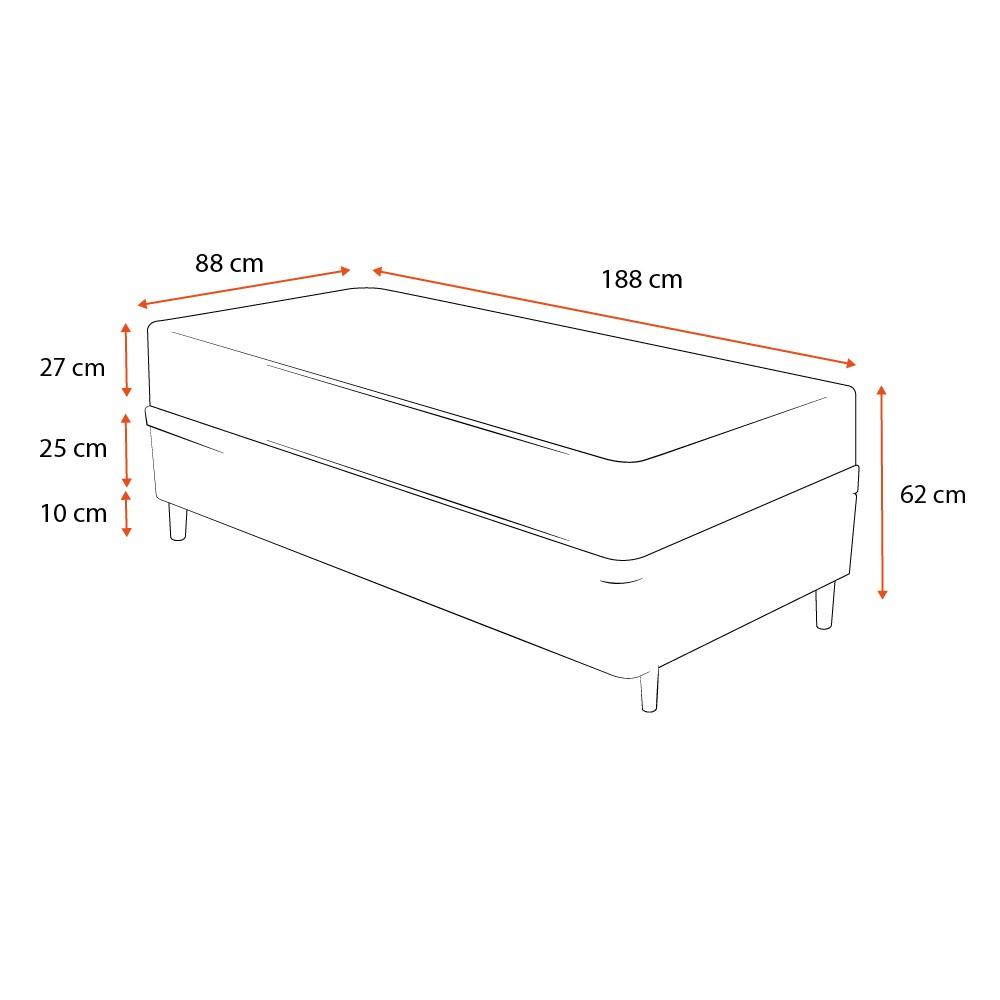 Cama Box Solteiro Cinza + Colchão De Espuma D33 - Castor - Black White Double Face 88x188x62cm