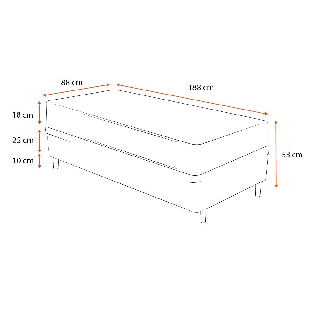 Cama Box Solteiro Cinza + Colchão De Espuma D33 - Ortobom - ISO 100 - 88x188x53cm