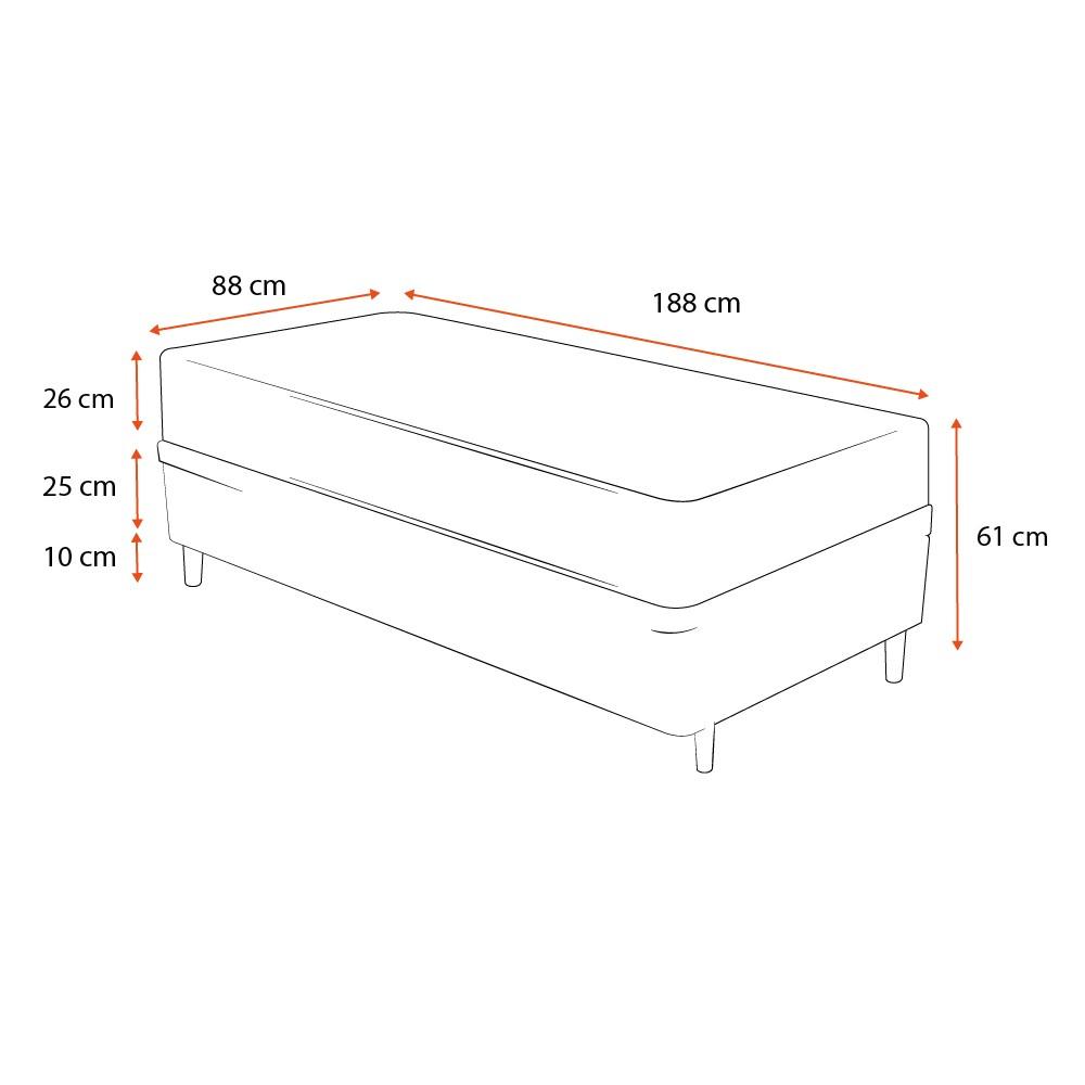 Cama Box Solteiro Cinza + Colchão de Molas Ensacadas - Plumatex - Ilhéus - 88x188x61cm