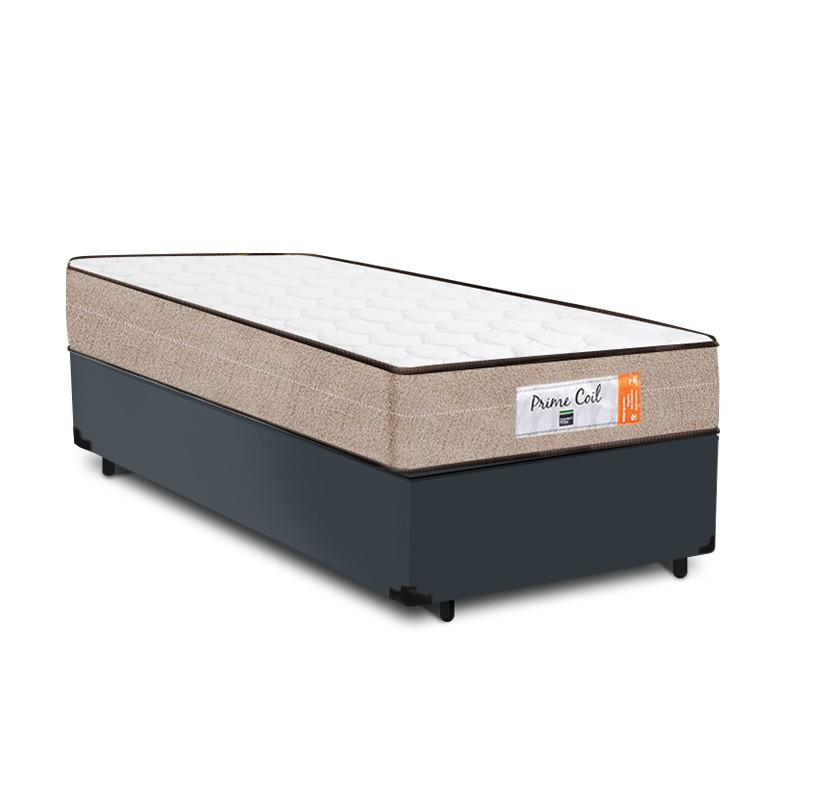 Cama Box Solteiro Cinza + Colchão de Molas Superlastic - Comfort Prime - Coil Crystal 78x188x53cm