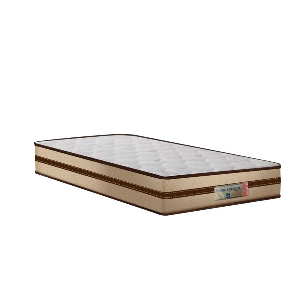 Cama Box Solteiro Cinza + Colchão de Molas Ensacadas - Comfort Prime - Prime Dreams Classic - 88x188x57cm