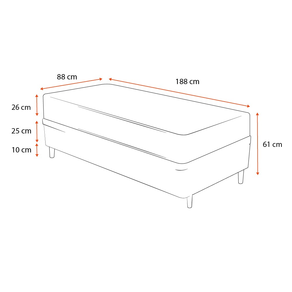 Cama Box Solteiro Cinza + Colchão Espuma D33 - Lucas Home - Confort D33 88x188x61cm