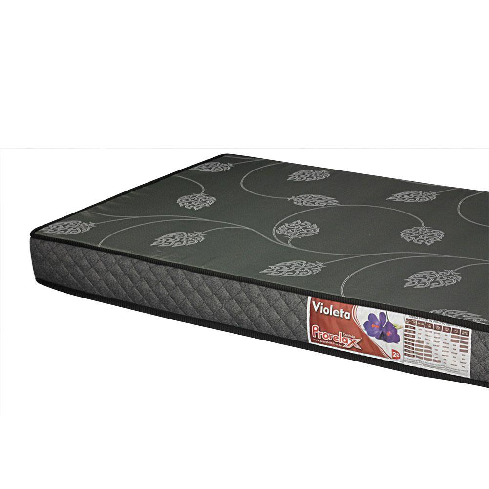 Cama Box Solteiro + Colchão De Espuma D20 - Prorelax - Violeta 78cm