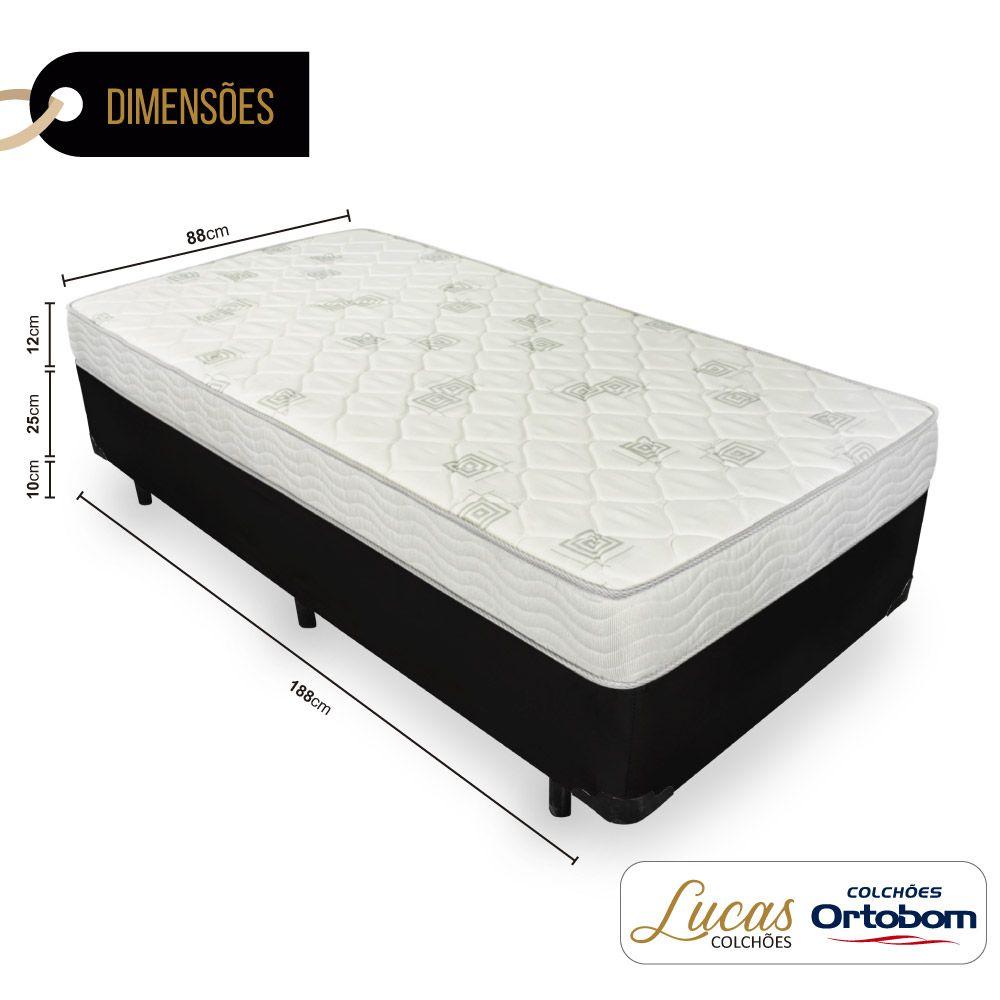 Cama Box Solteiro + Colchão De Espuma D23 - Ortobom - Light 88cm