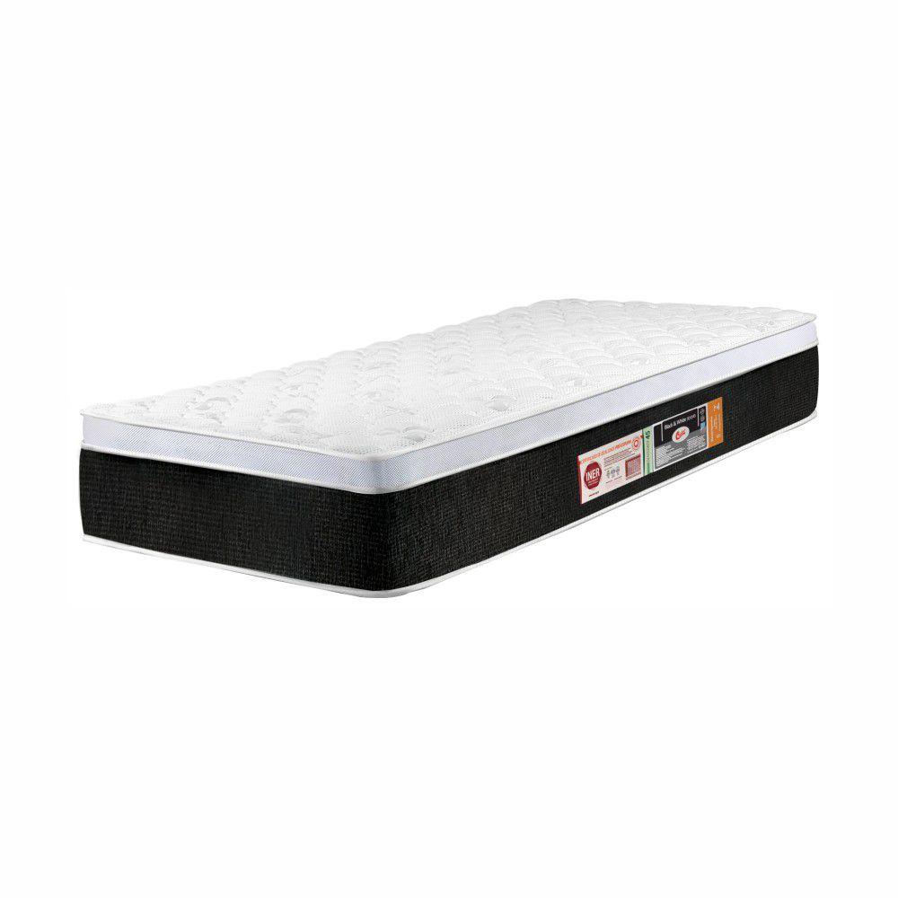 Cama Box Solteiro + Colchão De Espuma D45 - Castor - Black & White One Face 63x88x188cm