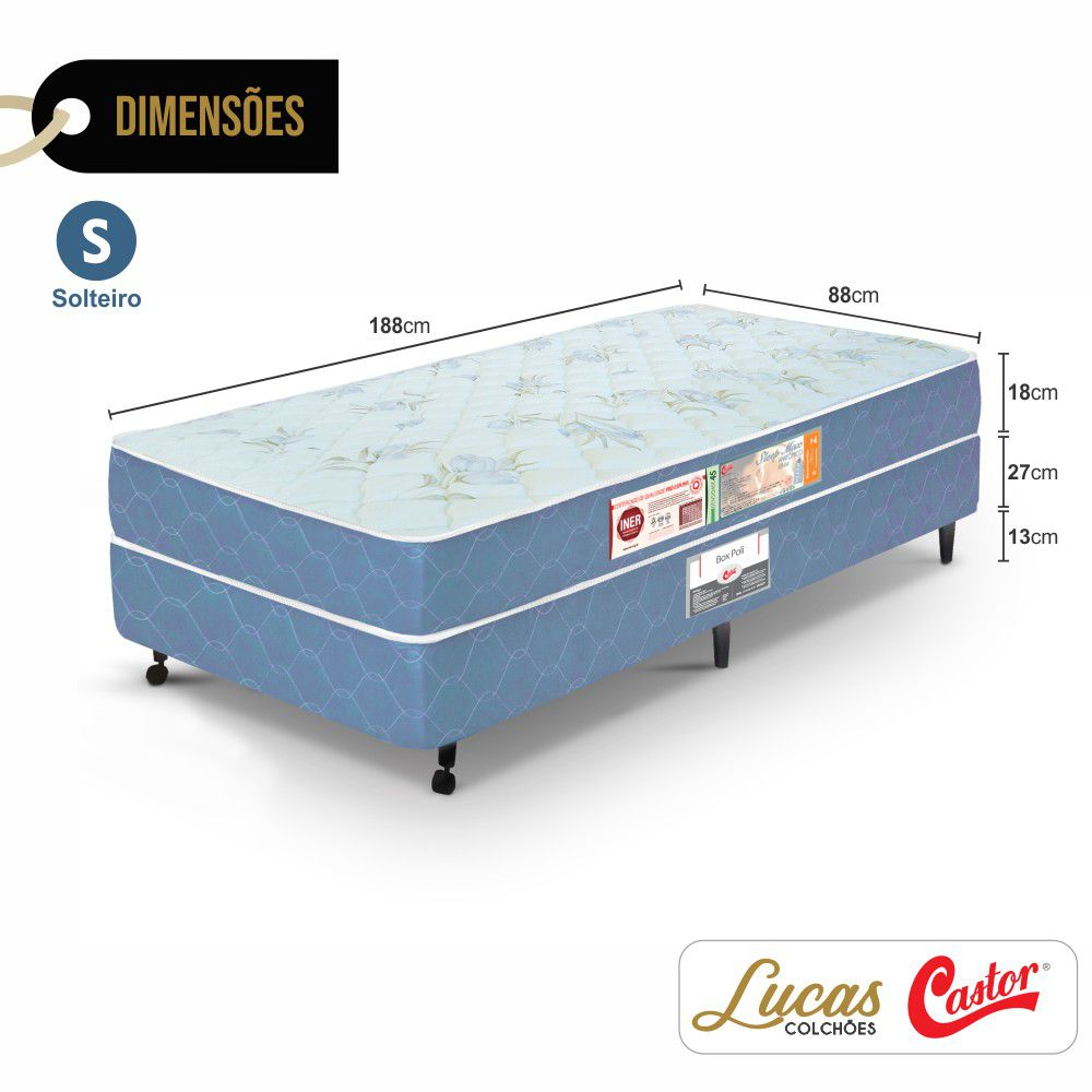 Cama Box Solteiro + Colchão De Espuma D45 - Castor - Sleep Max 58x88x188cm