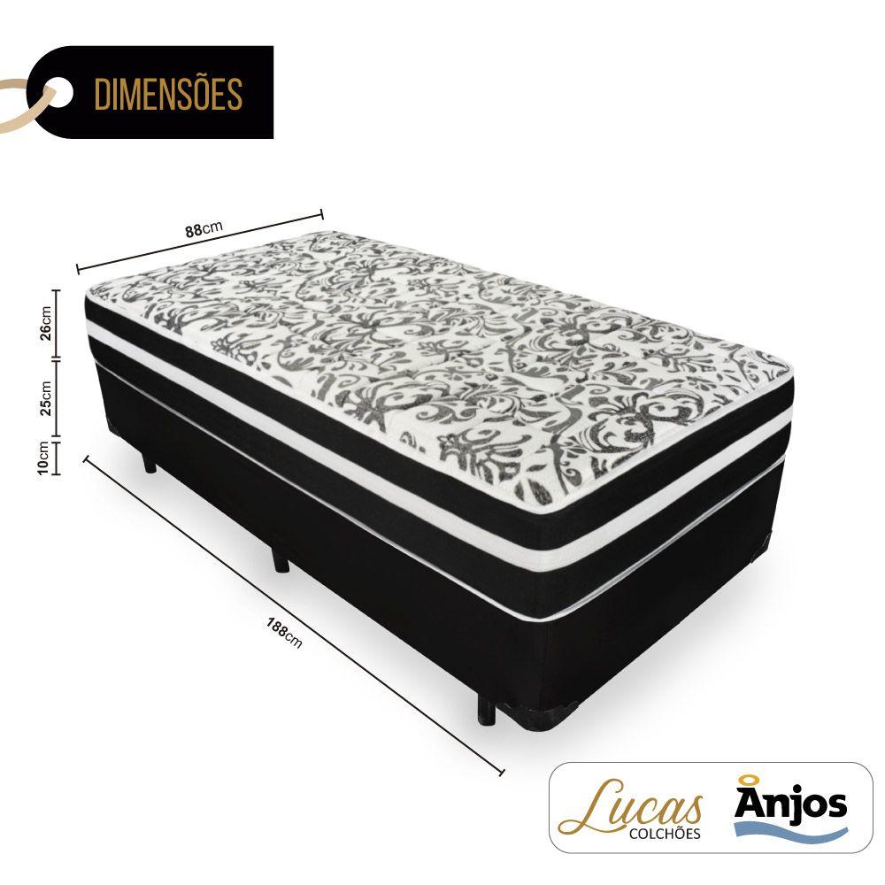 Cama Box Solteiro + Colchão De Molas - Anjos - Black Graphite 88cm