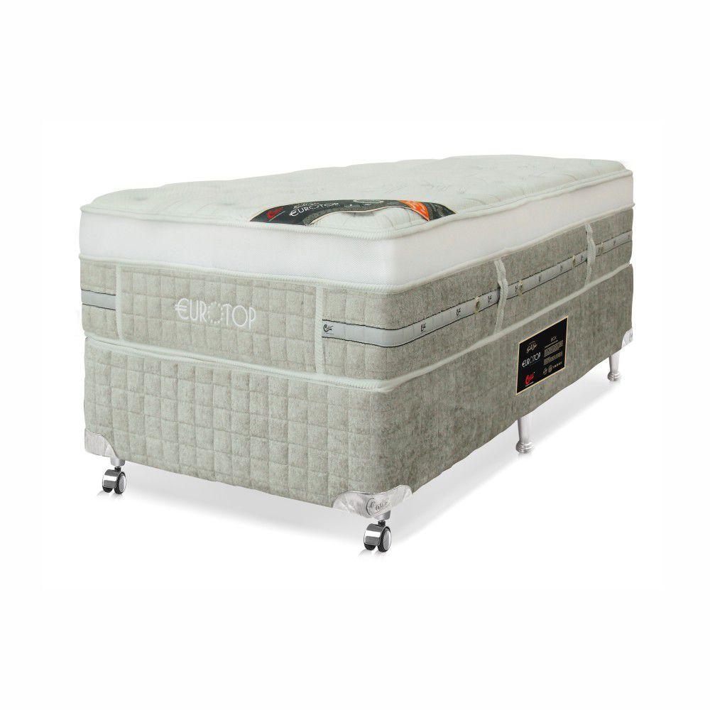 Cama Box Solteiro + Colchão De Molas Ensacadas - Castor - Eurotop Summer & Winter One Face 88cm