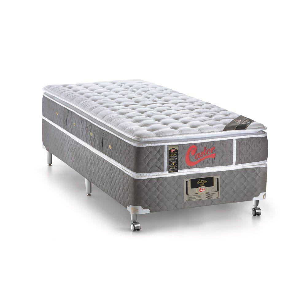 Cama Box Solteiro + Colchão De Molas Ensacadas - Castor - Light Stress Oxygen New One Face 88cm