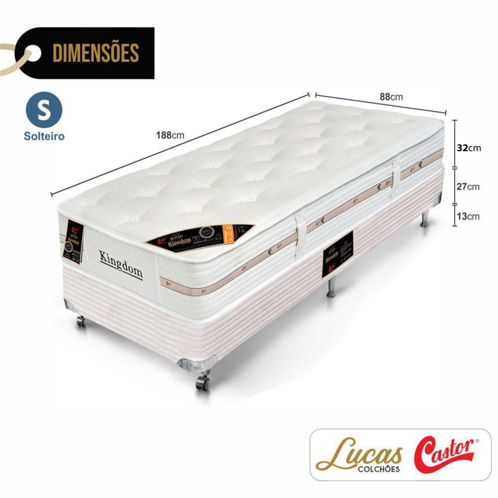 Cama Box Solteiro + Colchão De Molas Ensacadas - Castor - Montblanc Kingdom 88cm